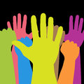 Colorful hands illustration of against a black background Stock Image