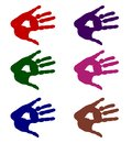 Colorful hands - isolated handprints