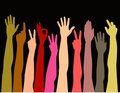 Colorful hands reaching up Stock Photos