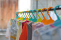 The colorful hangers are arranged in a neat and orderly manner. Royalty Free Stock Photo