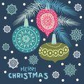 Colorful hanging Christmas balls. Merry Christmas and Happy New Year design.