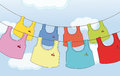 Colorful hanging clothes illustration of the Stock Photos