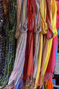Colorful hanging scarfs Royalty Free Stock Image