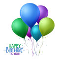 Colorful Happy Birthday Balloons Flying for Party and Celebrations