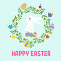 Colorful Happy Easter greeting card with flowers eggs and rabbit elements composition.