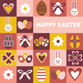 Colorful Happy Easter greeting card with flowers eggs and rabbit elements composition. Cute Happy Easter greeting card