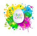 Colorful Happy Easter greeting card with spring elements composition. Colorful hand drawn blots.