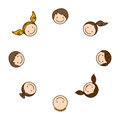 colorful happy group cartoon face children Royalty Free Stock Photo