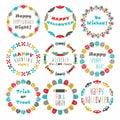 Colorful Happy Halloween circle pattern emblems set