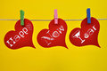 Colorful Happy New Year Hanging Heart Decorations Stock Image