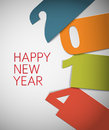Colorful happy new year vector card with big numbers blue orange green and red Stock Photo