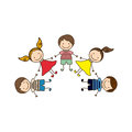 colorful happy set cartoon children holding hands Royalty Free Stock Photo