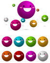 Colorful happy smiley ball Stock Photos