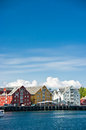 Colorful harbour buildings along the harbor waterfront at tromso norway Royalty Free Stock Photography