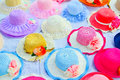Colorful hat in a row Royalty Free Stock Photos