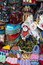 Colorful Hats, Gloves, Textile Souvenirs Royalty Free Stock Image