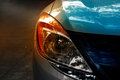 Colorful headlights of city car on street Royalty Free Stock Image