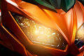 Colorful headlights modern motorcycle Royalty Free Stock Photo