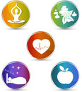 Colorful health care symbol set symbols healthy heart healthy food good sleep yoga spa therapy design on a white background Stock Photos
