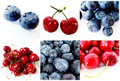 Colorful healthy fruit collage Royalty Free Stock Images