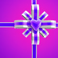 Colorful heart and bow background silver violet Royalty Free Stock Photos