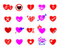 Colorful heart concept icon set happy sad love smart painful heartbroken unlove lorn suffering Stock Image