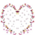 Colorful heart illustration from stars on white background