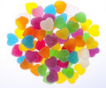 Colorful Heart Jelly in White Background Royalty Free Stock Photo