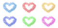 Colorful heart shapes made by flowers in white background Stock Image