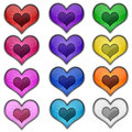 Colorful heart valentine love web icon buttons glass glossy button set app i you Stock Images