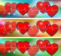 Colorful hearts abstract human heart and cardiogram banners Royalty Free Stock Image