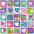 Colorful hearts collection pattern cute flowers and dots illustration set on rectangular and white background Royalty Free Stock Photos