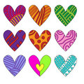 Colorful hearts with different pattern Royalty Free Stock Image