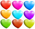Colorful hearts illustration of the on a white background Royalty Free Stock Photography