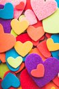 Colorful hearts stickers background valantine decorations various Stock Image