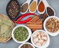 Colorful herbs and spices selection aromatic ingredients on wood table Royalty Free Stock Photos