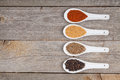 Colorful herbs and spices selection aromatic ingredients on wood table with copyspace Royalty Free Stock Photos