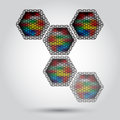 Colorful hexagon lights abstract concept Royalty Free Stock Image