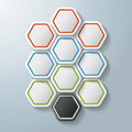 Colorful hexagon options hexagons on the grey background eps file Stock Photo