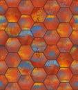 Colorful hexagonal tiled seamless texture metal tiles as a high detail background Stock Photos