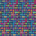 Colorful hippie pattern brightly coloured organic shapes Stock Photo
