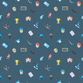 Colorful hockey seamless vector pattern. Modern flat style icons