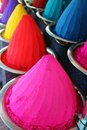 Colorful holi dye powders at mysore bazaar, india Stock Image