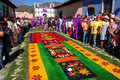 Colorful holy week carpet in antigua guatemala march or alfombra made the path of a religious procession using wooden or cardboard Royalty Free Stock Photos