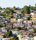 Colorful homes and hotels on martinique coast many buildings the of Royalty Free Stock Photo
