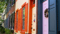 Colorful homes in old town philadelphia the colorfully painted shutters and doors of colonial period city Royalty Free Stock Photos