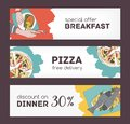 Colorful horizontal banner templates with hand drawn sketches of delicious food and various appetizing dishes. Special