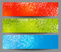 Colorful horizontal banners with square motive Stock Photos