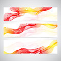 Colorful Horizontal Set Of Banners smoky waves