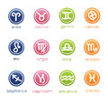 Colorful horoscope signs in badge form Stock Photo